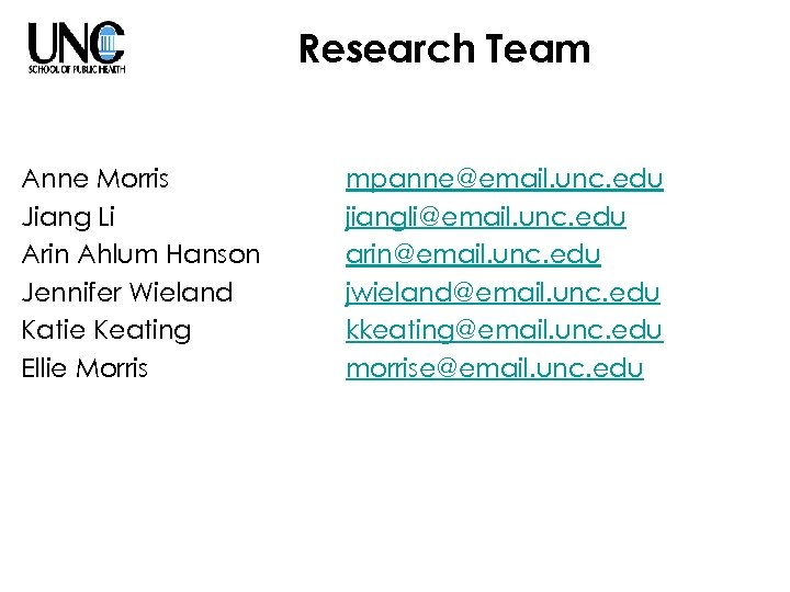 Research Team Anne Morris Jiang Li Arin Ahlum Hanson Jennifer Wieland Katie Keating Ellie