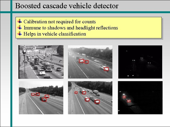 Boosted cascade vehicle detector Calibration not required for counts Immune to shadows and headlight