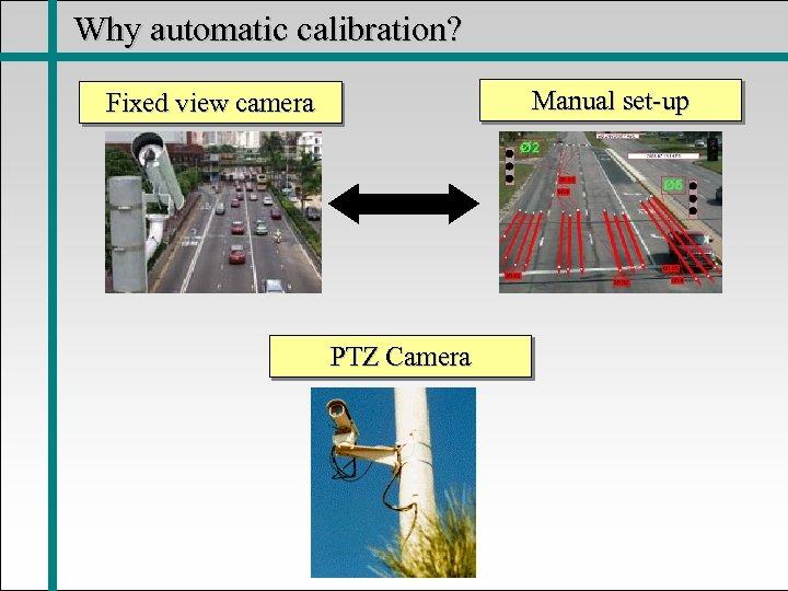 Why automatic calibration? Manual set-up Fixed view camera PTZ Camera