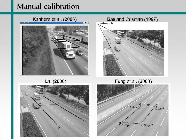 Manual calibration Kanhere et al. (2006) Bas and Crisman (1997) Lai (2000) Fung et