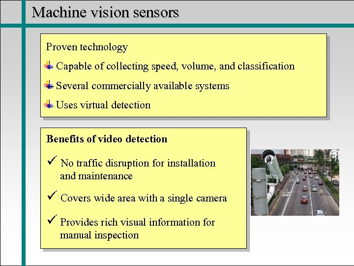 Machine vision sensors Proven technology Capable of collecting speed, volume, and classification Several commercially