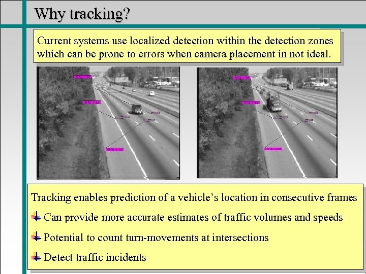 Why tracking? Current systems use localized detection within the detection zones which can be