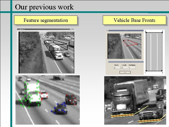 Our previous work Feature segmentation Vehicle Base Fronts