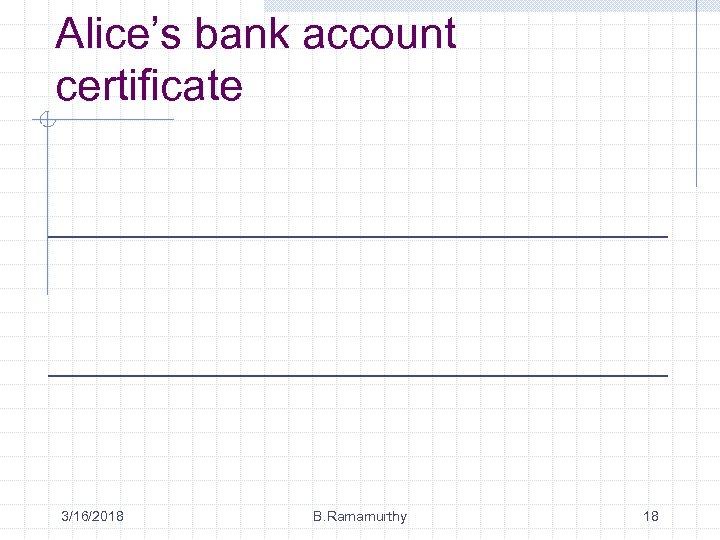 Alice's bank account certificate 3/16/2018 B. Ramamurthy 18
