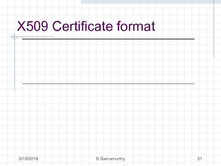 X 509 Certificate format 3/16/2018 B. Ramamurthy 21