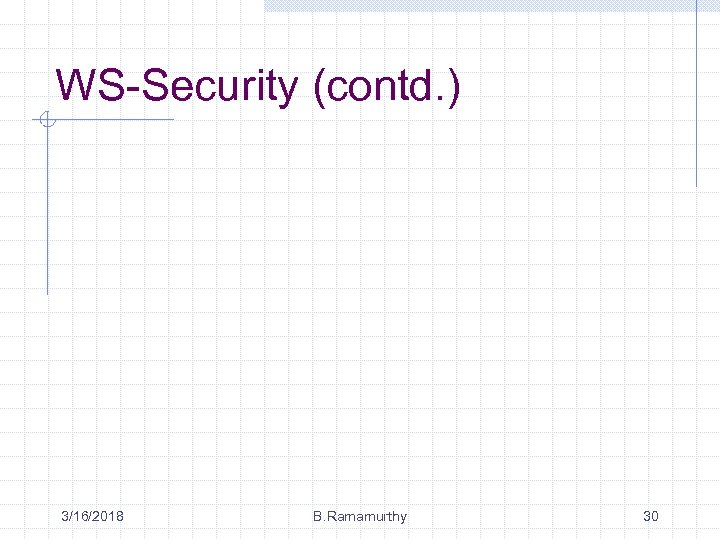 WS-Security (contd. ) 3/16/2018 B. Ramamurthy 30