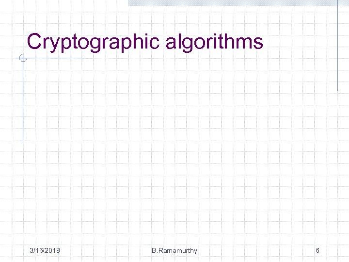 Cryptographic algorithms 3/16/2018 B. Ramamurthy 6
