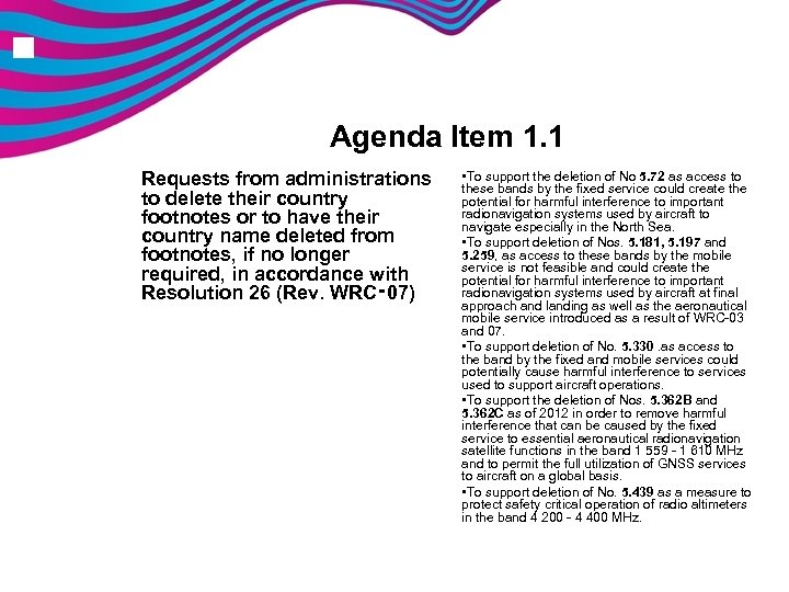 n Agenda Item 1. 1 Requests from administrations to delete their country footnotes or