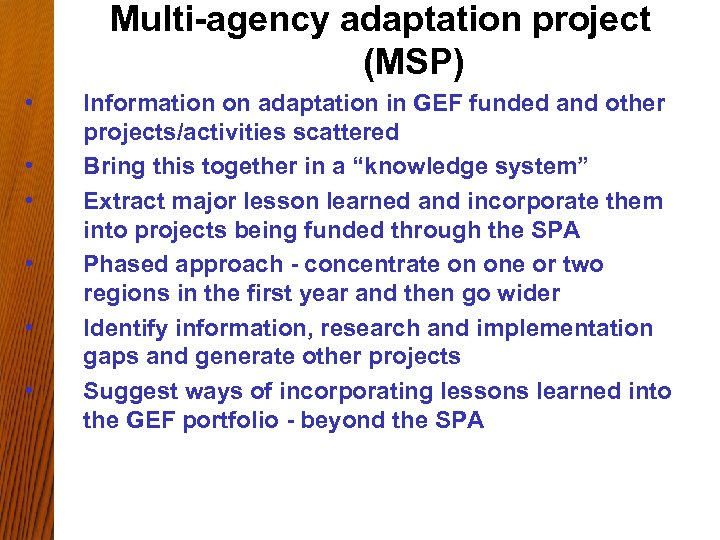 Multi-agency adaptation project (MSP) • • • Information on adaptation in GEF funded and
