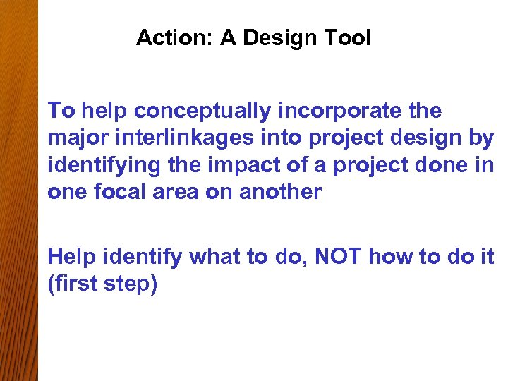 Action: A Design Tool To help conceptually incorporate the major interlinkages into project design