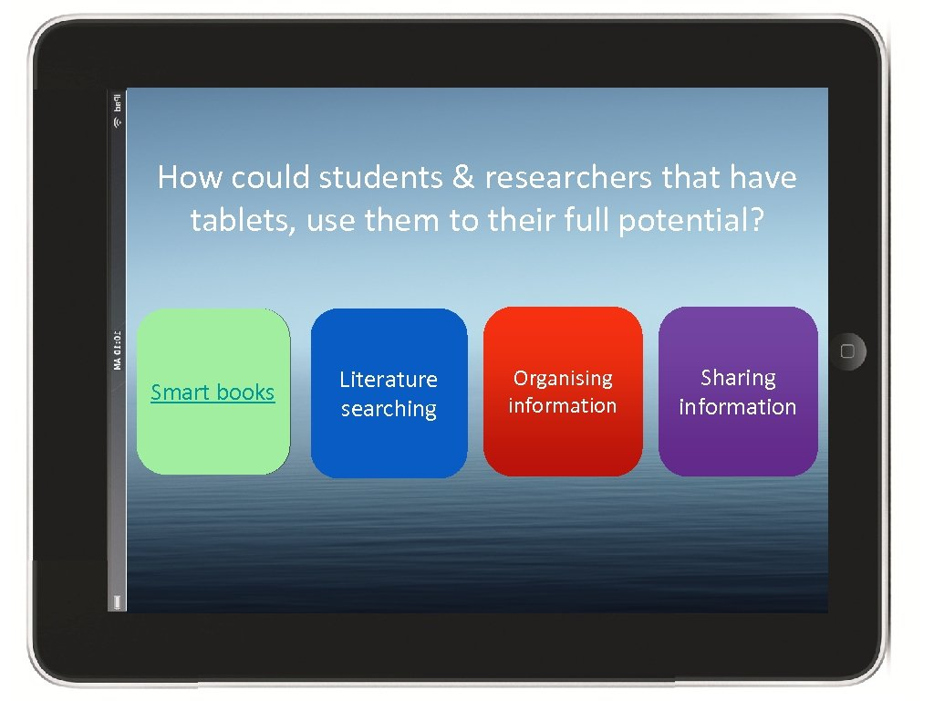 How could students & researchers that have tablets, use them to their full potential?