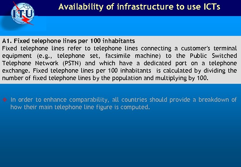 Availability of infrastructure to use ICTs A 1. Fixed telephone lines per 100 inhabitants