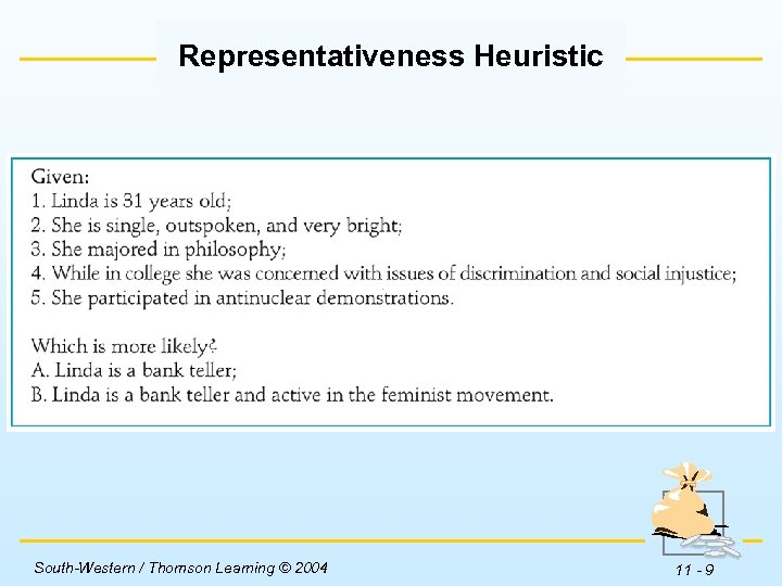 Representativeness Heuristic Insert Table 11 -1 here. South-Western / Thomson Learning © 2004 11