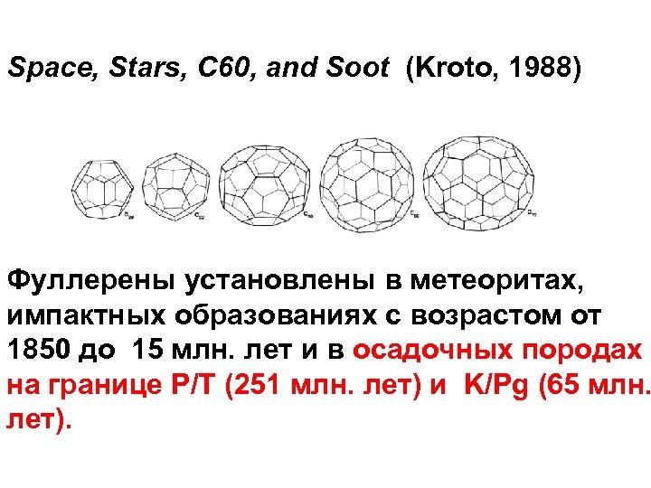 Space, Stars, C 60, and Soot (Kroto, 1988) Фуллерены установлены в метеоритах, импактных образованиях