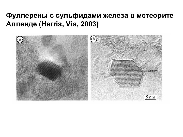 Фуллерены с сульфидами железа в метеорите Алленде (Harris, Vis, 2003)
