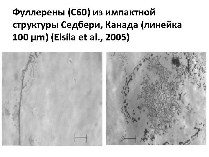 Фуллерены (С 60) из импактной структуры Седбери, Канада (линейка 100 µm) (Elsila et al.