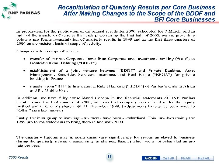 Recapitulation of Quarterly Results per Core Business After Making Changes to the Scope of