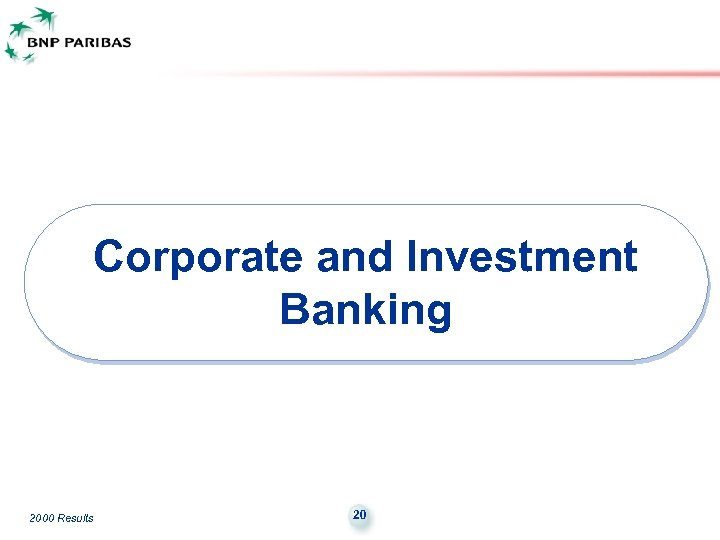 Corporate and Investment Banking 2000 Results 20