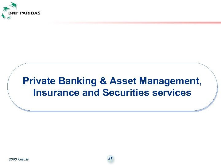 Private Banking & Asset Management, Insurance and Securities services 2000 Results 27