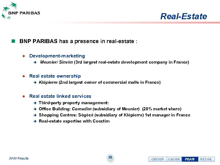 Real-Estate n BNP PARIBAS has a presence in real-estate : l Development-marketing è l