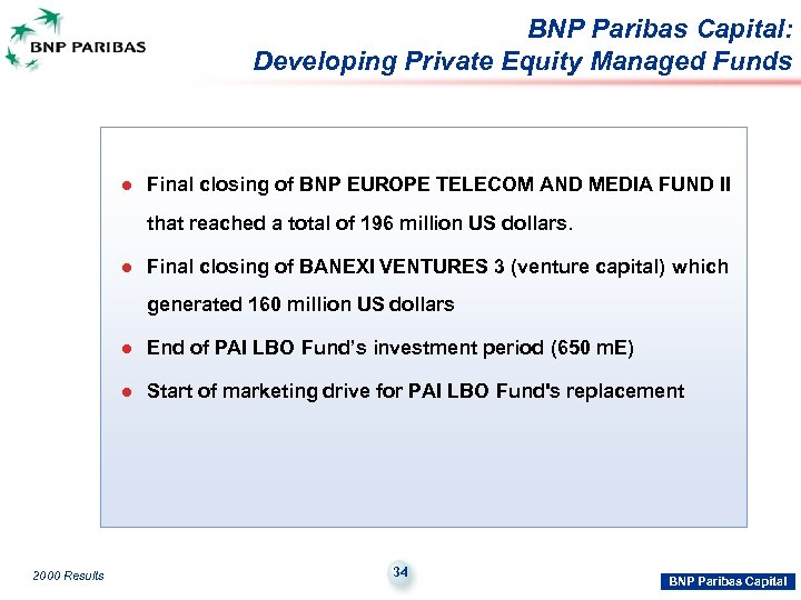 BNP Paribas Capital: Developing Private Equity Managed Funds l Final closing of BNP EUROPE