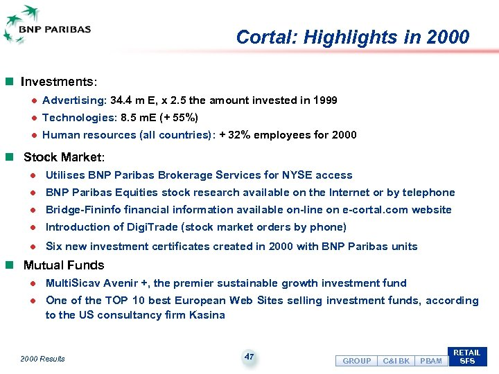 Cortal: Highlights in 2000 n Investments: l Advertising: 34. 4 m E, x 2.