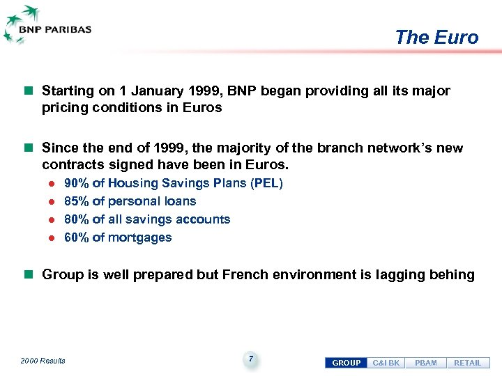 The Euro n Starting on 1 January 1999, BNP began providing all its major