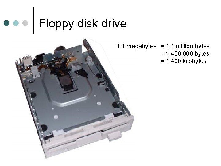Floppy disk drive 1. 4 megabytes = 1. 4 million bytes = 1, 400,
