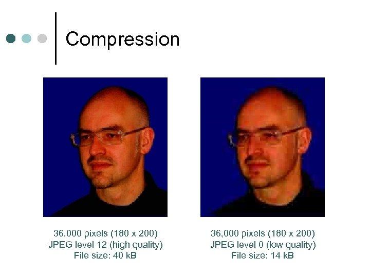 Compression 36, 000 pixels (180 x 200) JPEG level 12 (high quality) File size: