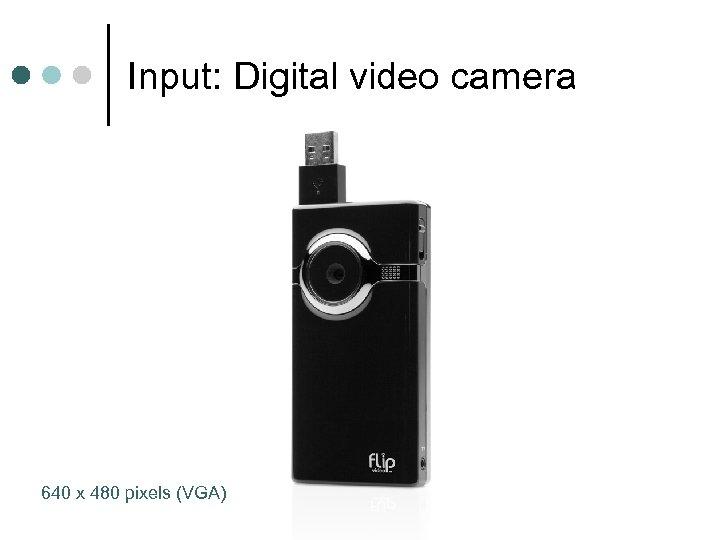 Input: Digital video camera 640 x 480 pixels (VGA)