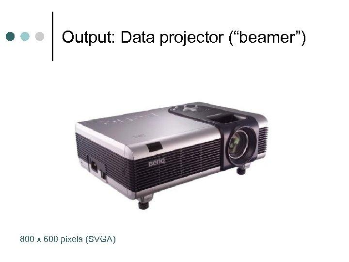 "Output: Data projector (""beamer"") 800 x 600 pixels (SVGA)"