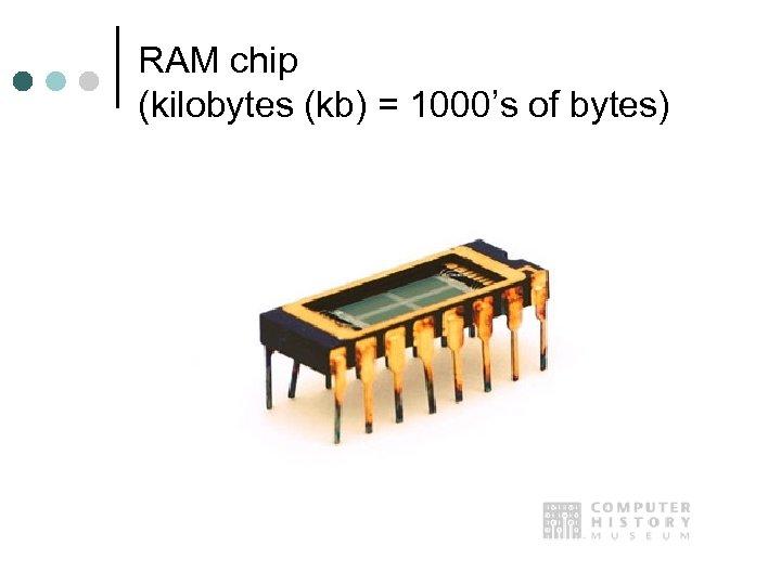 RAM chip (kilobytes (kb) = 1000's of bytes)