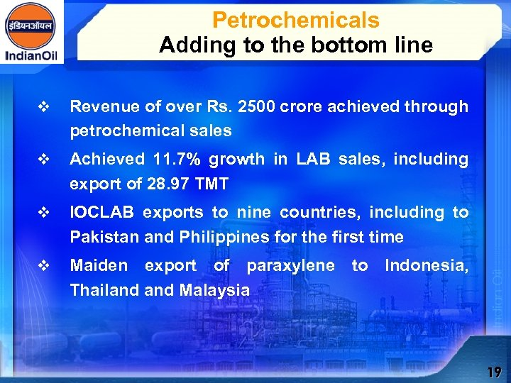 Petrochemicals Adding to the bottom line v Revenue of over Rs. 2500 crore achieved