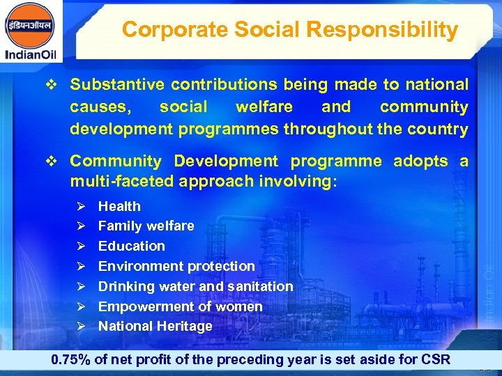 Corporate Social Responsibility v Substantive contributions being made to national causes, social welfare and