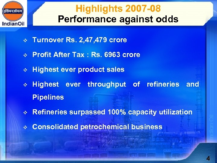 Highlights 2007 -08 Performance against odds v Turnover Rs. 2, 479 crore v Profit