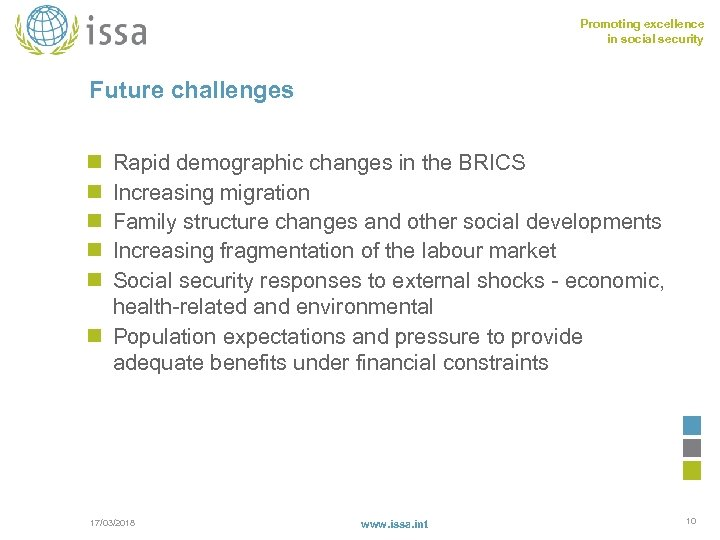 Promoting excellence in social security Future challenges n n n Rapid demographic changes in