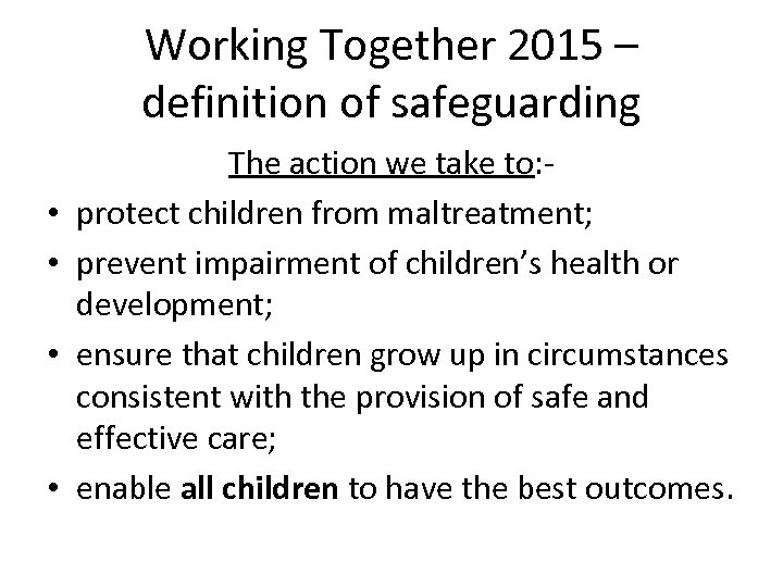 principles of safeguarding and protection in Hsc024 principles of safeguarding and protection in health and social care outcome 1 11 define the following types of abuse -physical abuse - is an act of another party involving contact intended to cause feelings of physical pain, injury or other physical suffering or.
