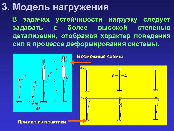 3. Модель нагружения В задачах устойчивости нагрузку следует задавать с более высокой степенью детализации,