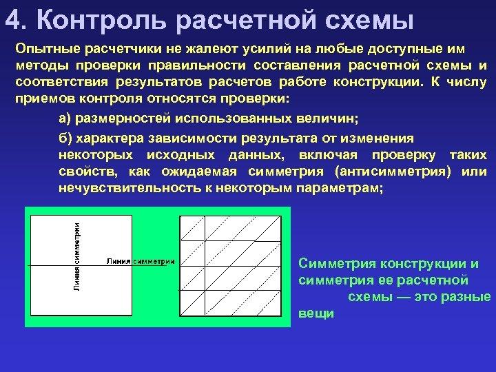 4. Контроль расчетной схемы Опытные расчетчики не жалеют усилий на любые доступные им методы