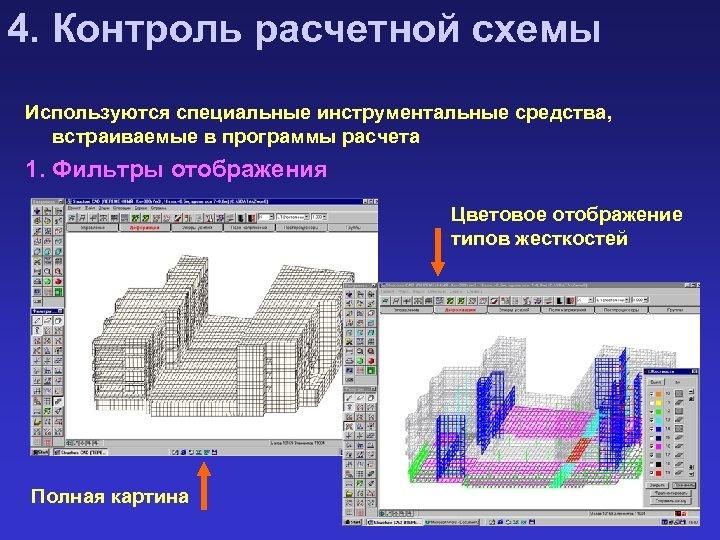 4. Контроль расчетной схемы Используются специальные инструментальные средства, встраиваемые в программы расчета 1. Фильтры