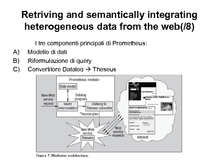 Retriving and semantically integrating heterogeneous data from the web(/8) A) B) C) I tre