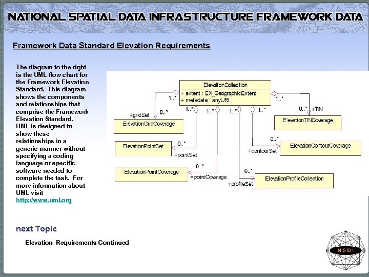 Framework Data Standard Elevation Requirements The diagram to the right is the UML flow