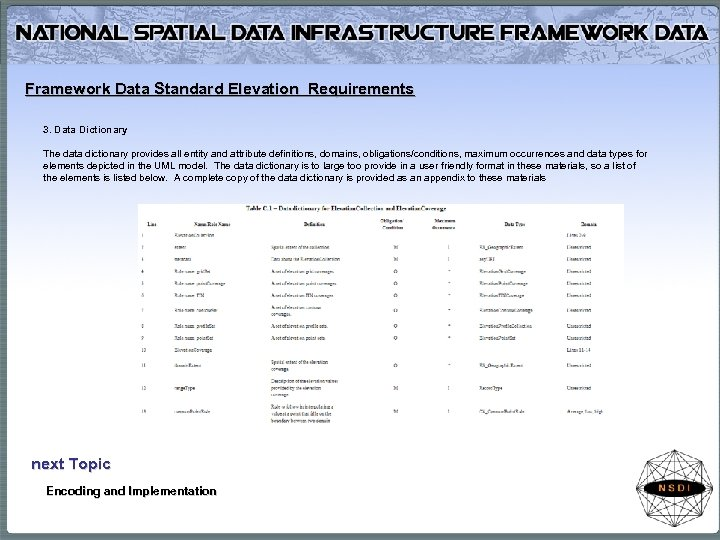 Framework Data Standard Elevation Requirements 3. Data Dictionary The data dictionary provides all entity
