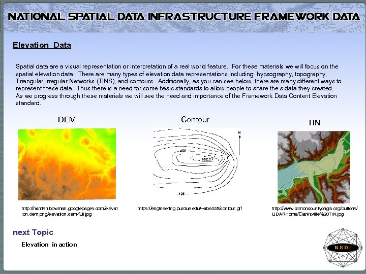 Elevation Data Spatial data are a visual representation or interpretation of a real world