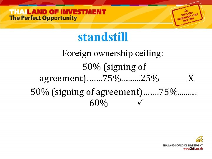 standstill Foreign ownership ceiling: 50% (signing of agreement)……. 75%. . 25% X 50% (signing