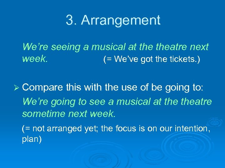 3. Arrangement We're seeing a musical at theatre next week. (= We've got the