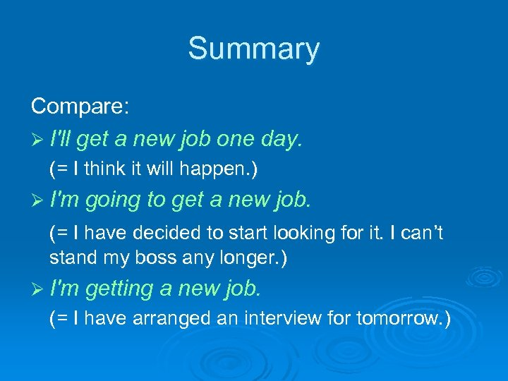 Summary Compare: Ø I'll get a new job one day. (= I think it