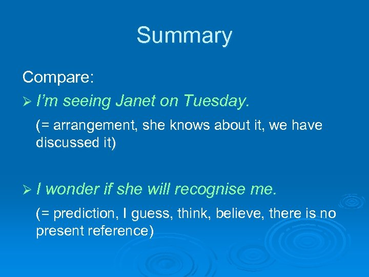 Summary Compare: Ø I'm seeing Janet on Tuesday. (= arrangement, she knows about it,