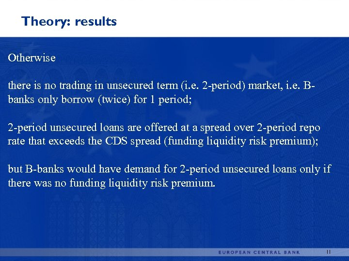 Theory: results Otherwise there is no trading in unsecured term (i. e. 2 -period)