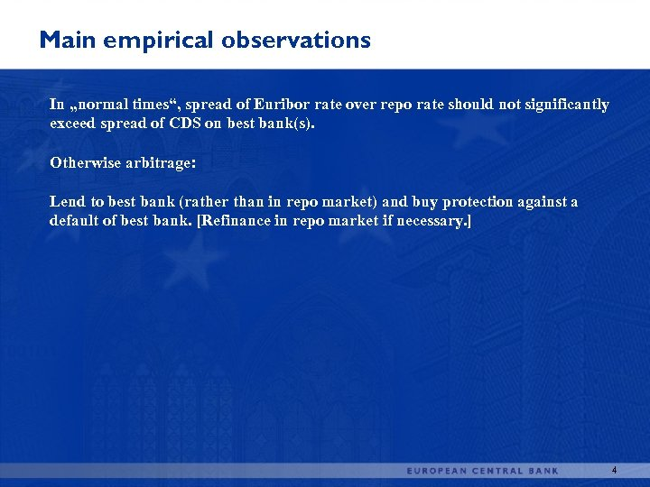 """Main empirical observations In """"normal times"""", spread of Euribor rate over repo rate should"""